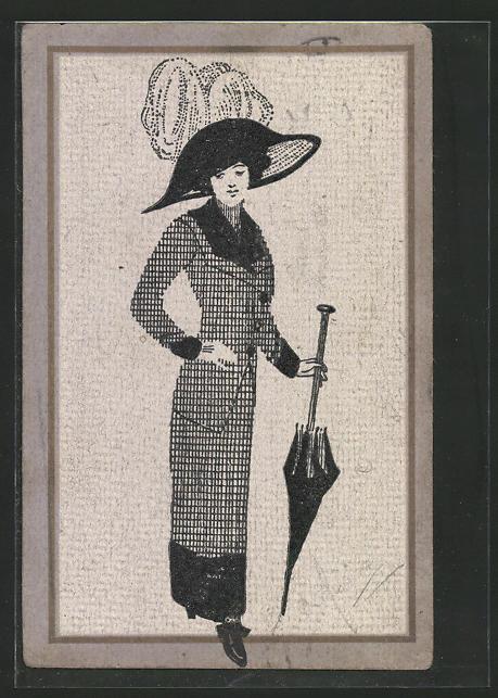 Künstler-AK Handgemalt: elegante Dame mit Schirm & Hut, Jugendstil
