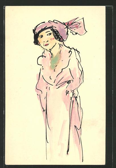 Künstler-AK Handgemalt: Dame mit lila Hut