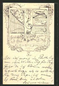 Künstler-AK Handgemalt: Wappen der Auguste Zenger, Malerpalette, Panflöte, Kuchen
