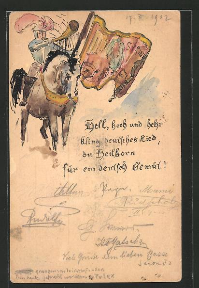 Künstler-AK Handgemalt: Ritter mit Signalhorn zu Pferd