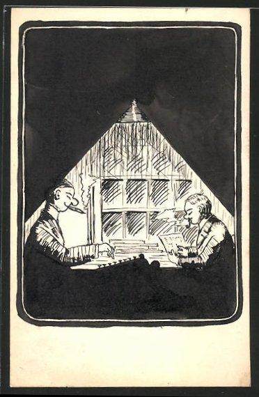 Künstler-AK Handgemalt: 2 Männer im Lichtkegel einer Lampe, Schreibmaschine