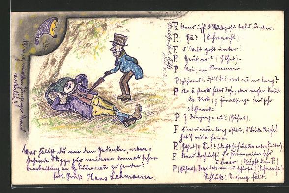 Künstler-AK Handgemalt: 2 Landstreicher unter einem Baum, sign. Hans Lehmann