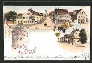 Lithographie Gross-Gerau, Ortspartie mit Gasthof