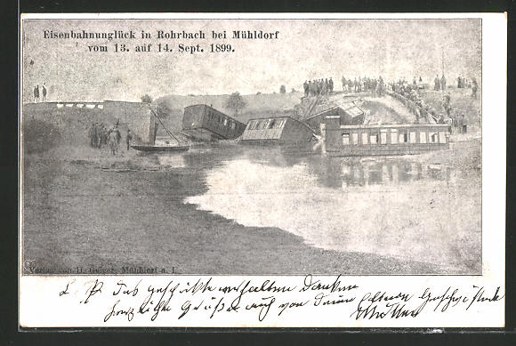 AK Unterrohrbach-Erharting, Eisenbahnkatastrophe vom 13. auf 14. Sept. 1899