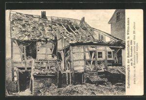 AK Witten-Annen, Explosionsunglück der Roburitfabrik am 28.11.1906, zerstörtes Haus