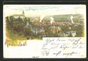Lithographie Rudolstadt, Panoramablick auf die Stadt