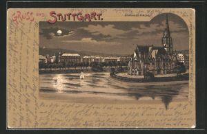 Mondschein-Lithographie Stuttgart, Uferpartie mit Johannes-Kirche