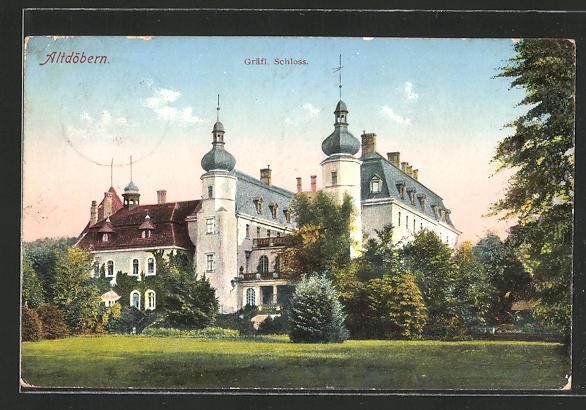 AK Altdöbern, Totalansicht des gräfl. Schlosses