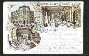 Lithographie Leipzig, Ansichten vom Restaurant Oertel