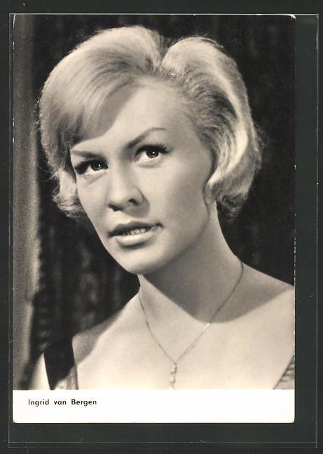 AK Schauspielerin Ingrid van Bergen mit blonden kurzen Haaren