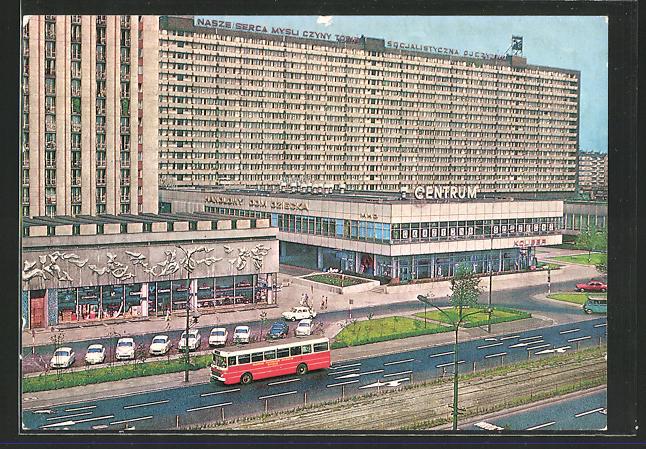 AK Katowice, Strasse der Roten Armee mit Einkaufszentrum