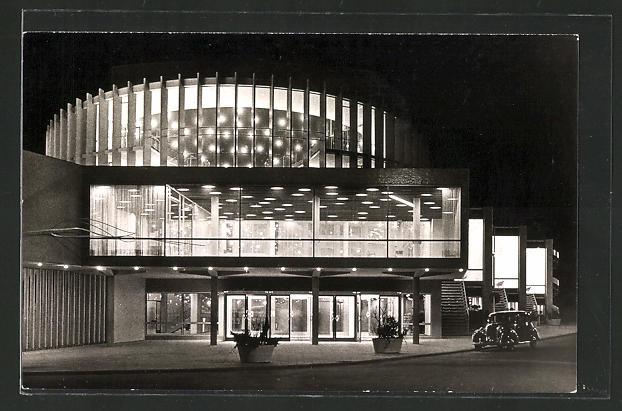 AK Münster in Westfalen, Das neue Theater bei Nacht