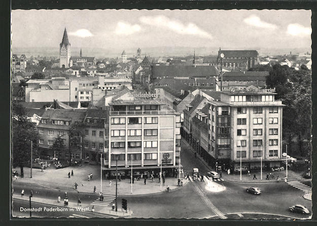 AK Paderborn in Westf., Blick auf die Hauptbahnhofs-Gaststätten aus der Vogelschau