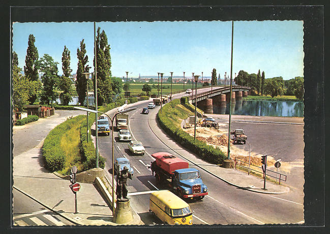 AK Offenbach am Main, Carl-Ulrich-Brücke aus der Vogelschau