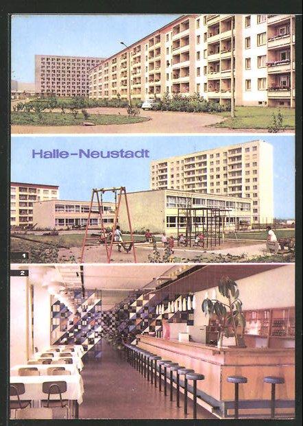 AK Halle-Neustadt, Kindereinrichtung Pittiplatsch und HO-Gaststätte