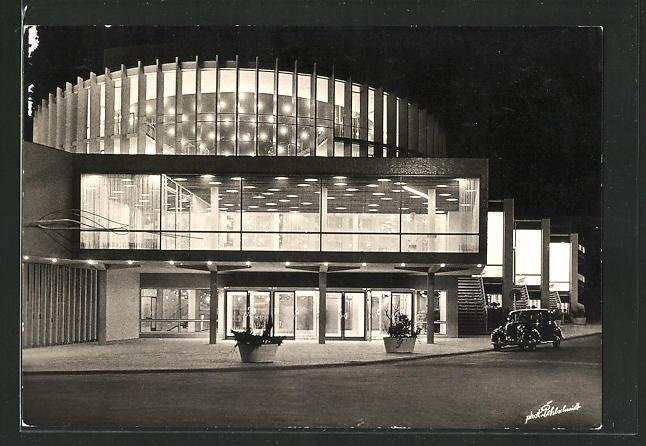 AK Münster, das neue Theater bei Nacht