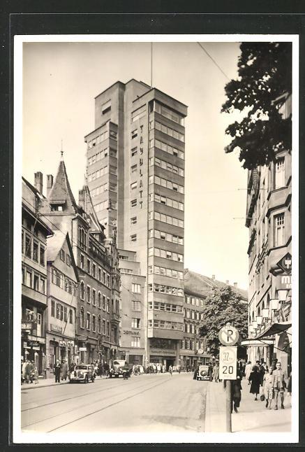 AK Stuttgart, Eberhardstrasse mit Tagblatt-Turm