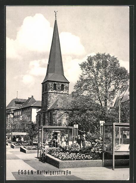 AK Essen, Kettwiger Strasse mit Kirche