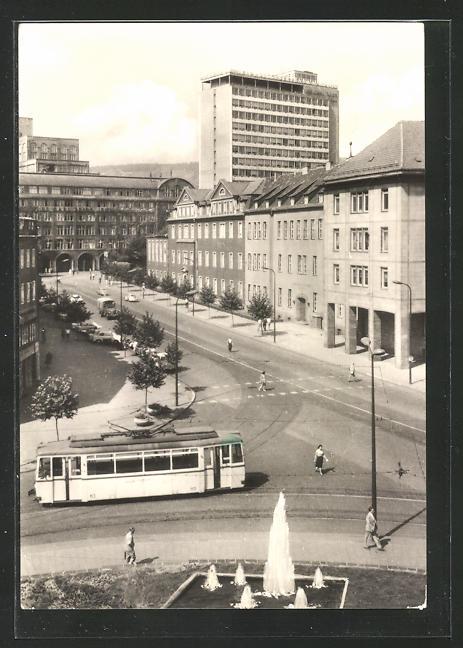 AK Jena, Blick vom Thälmannring zum Zeisswerk und neuem Hochhaus, Strassenbahn
