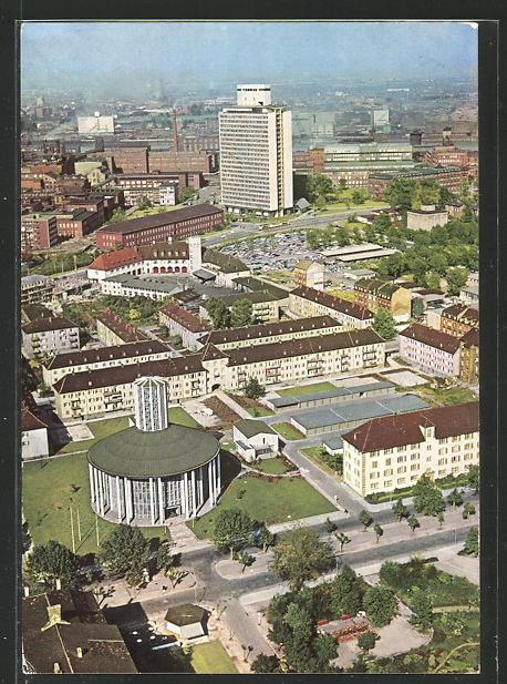 AK Ludwigshafen / Rhein, BASF mit Friedrich-Engelhorn-Haus und der Friedenskirche aus der Vogelschau