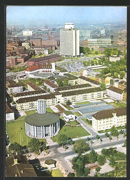 AK Ludwigshafen / Rhein, BASF mit Friedrich-Engelhorn-Haus und der Friedenskirche