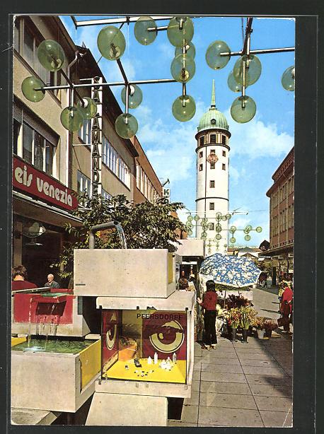 AK Darmstadt, Blick in die Ernst-Ludwig-Strasse und Weisser Turm