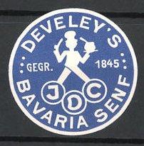 Reklamemarke Develey's Bavaria Senf, Koch mit Senf
