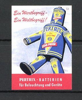 Reklamemarke Pertrix-Batterien für Beleuchtung und Geräte