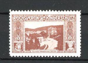 Reklamemarke Reichsverein für Kinderschutz, Marienbad, Ferdinandsbrunnen und kath. Kirche, braun