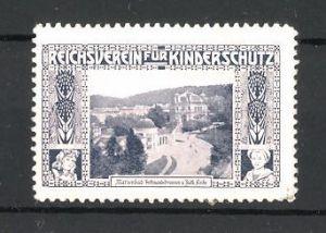 Reklamemarke Reichsverein für Kinderschutz, Marienbad, Ferdinandsbrunnen und kath. Kirche, blau