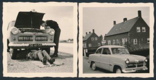 2 Fotografien Auto Ford Taunus, Fahrer bei Reparatur unter dem PKW