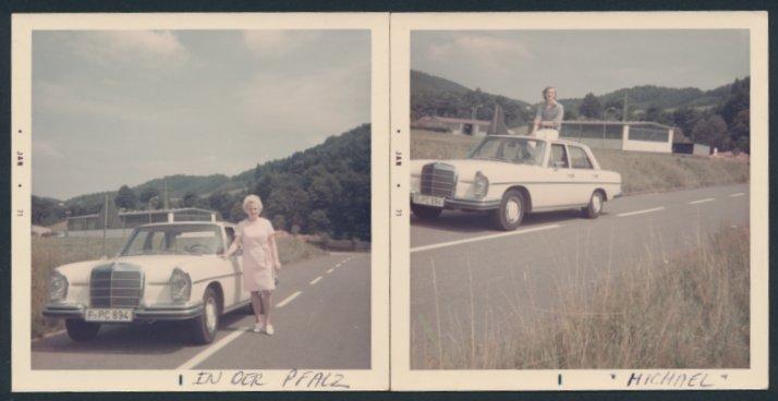 2 Fotografien Auto Mercedes Benz, weisse Limousine auf einer Landstrasse in der Pfalz