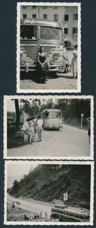 3 Fotografien Bus Büssing, Reisebus der Gesellschaft Hafermann in Witten, Kfz-Kennzeichen: BR27-6690