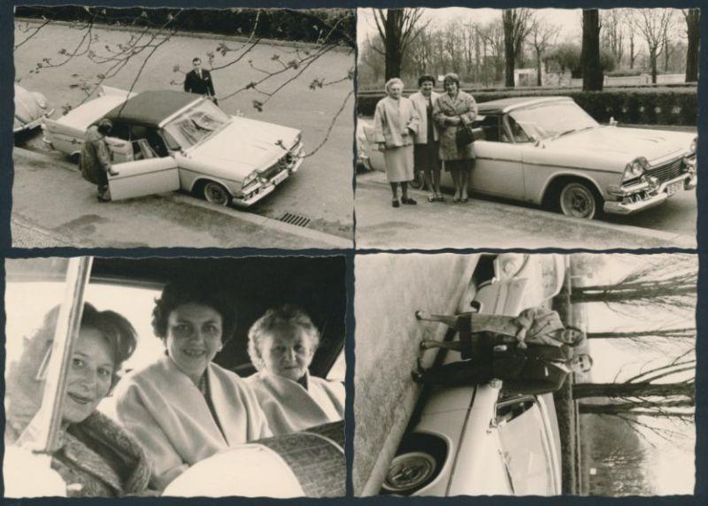 4 Fotografien Auto Dodge Cabrio, US-Car, Familie am PKW in Berlin