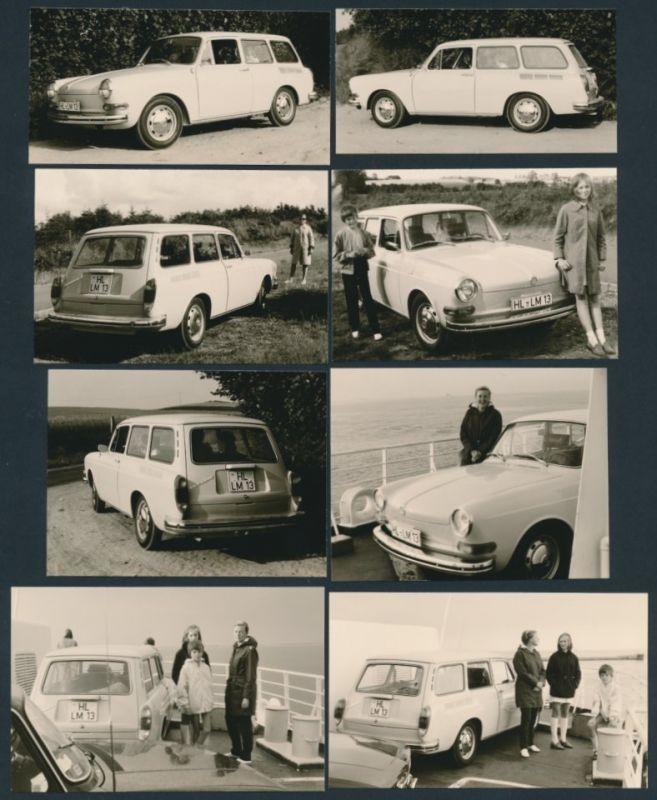 8 Fotografien Auto VW 1500 Kombi, Volkswagen Typ 3 auf einer Fähre