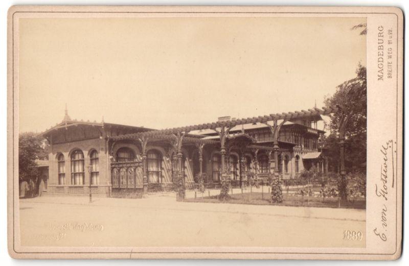 Fotografie E. von Flottwell, Magdeburg, Ansicht Magdeburg, Partie am Gesellschaftshaus Herrenkrug