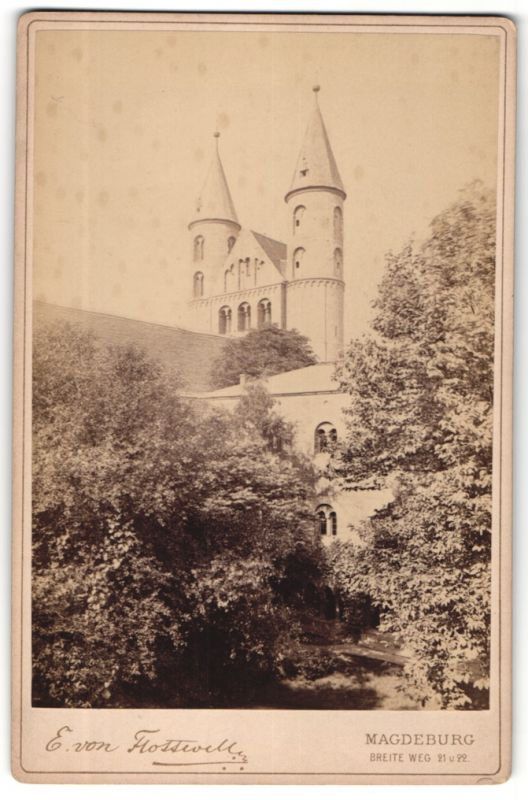 Fotografie E. von Flottwell, Magdeburg, Ansicht Magdeburg, Klostergarten & Liebfrauenkirche