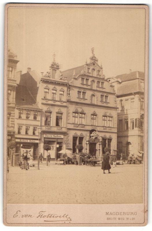 Fotografie E. von Flottwell, Magdeburg, Ansicht Magdeburg, alter Markt mit Börse, Laden von David Nathan & Richard Heyer