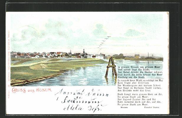 Ak Husum Panorama Und Gedicht V Theodor Storm Nr 8047924
