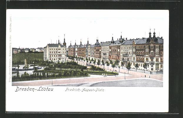 Goldfenster-AK Dresden-Löbtau, Häuser am Friedrich-August-Platz mit leuchtenden Fenstern