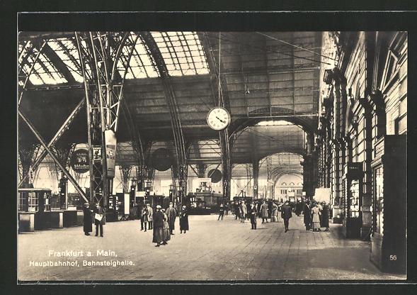 AK Frankfurt, In der Bahnsteighalle des Hauptbahnhofs