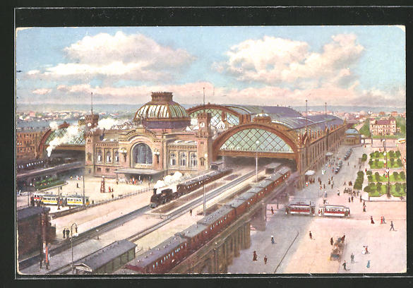 AK Bahnhof, Haupt-Bahnhof mit Bahnsteigen