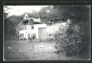 AK Mühlen, zerstörtes Haus nach Unwetter am 4.6.1913