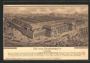Künstler-AK Leipzig, Der neue Hauptbahnhof, Strassenbahn