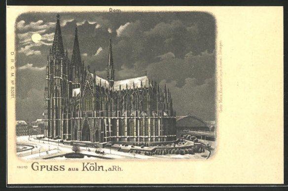 Winter-Lithographie Köln, Blick auf den verschneiten Dom
