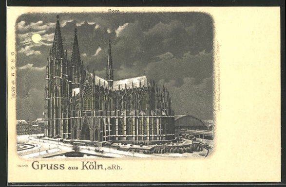 Winter-Lithographie Köln, Blick auf den Dom bei Mondenschein