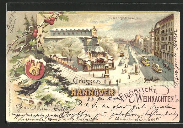 Winter-Lithographie Hannover, Blick über die verschneite Georgstrasse, Strassenbahn