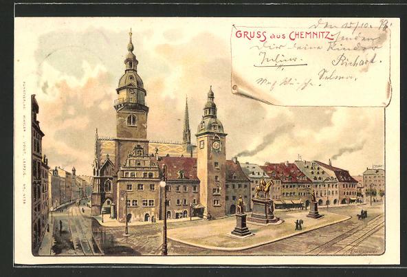 Künstler-AK Erwin Spindler: Chemnitz, Partie auf dem Markt mit Rathaus