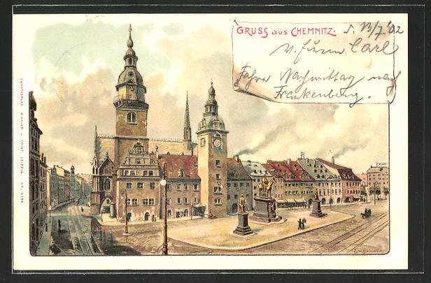 Künstler-AK Erwin Spindler: Chemnitz, Blick auf das Rathaus und Markt