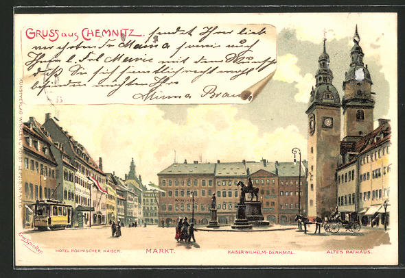 Künstler-AK Erwin Spindler: Chemnitz, Partie auf dem Markt mit Hotel Römischer Kaiser, Kaiser Wilhelm-Denkmal, Rathaus
